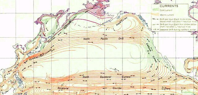 Map of ocean currents in the  Pacific Ocean Currents Map